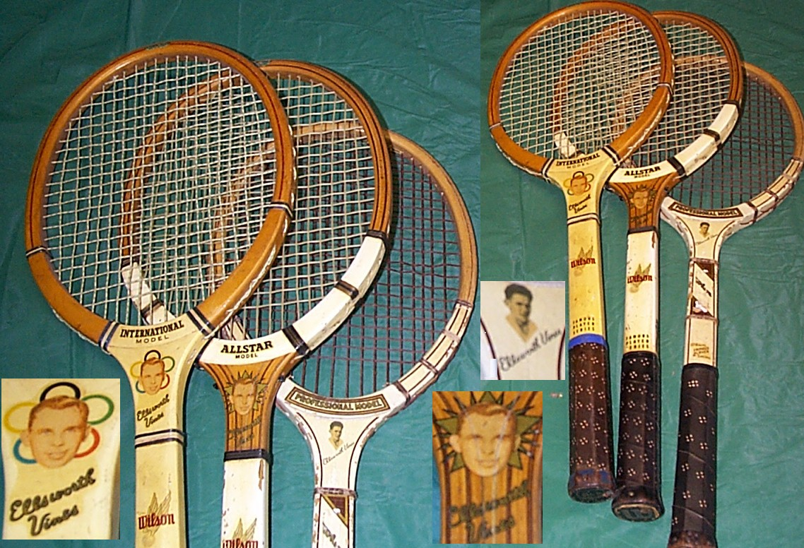 Famous player wood tennis rackets Borg McEnroe Kramer Vilas Tilden